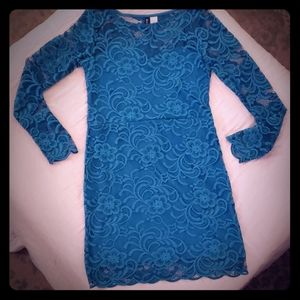 Divided by H&M Teal Lace long sleeve bodycon dress